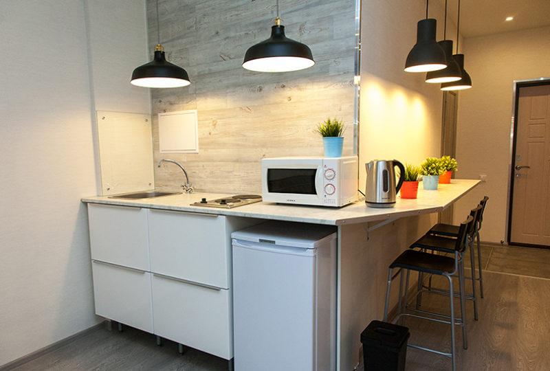кухня с холодильником и микроволновкой